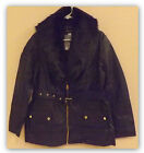 George UK- Women's Belted Faux Leather Jacket w/ faux fur trim BLACK SIZE 14
