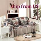 Nice Checked Linen Blend Slipcover Sofa Cover LUSB Protector for 1 2 3 4 seater