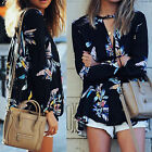 CH Women Ladies Casual V Neck Long Sleeve Blouse Sheer Floral Shirt Tops T-shirt