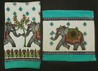 Peri Decorated Elephants Hand Towels or Wash Cloths~Velour White Aqua Gray Coral