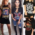 Women Vintage Rock Style Long T-Shirt Mini Dress Casual Party Holiday Top Blousd