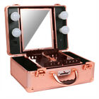 Pro Portable Studio Makeup Train Cosmetic Case Kit Aluminum Box w/ Mirror Lights