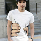 Men Summer 3D Big Hand Print Round Neck Short Sleeve White T-shirt  Fancy