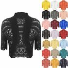 New Womens Crochet Knit Ladies Short Sleeve Crop Shrug Bolero Cardigan Top 8-14