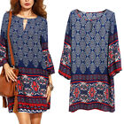 Women Ladies Long Sleeve Boho Floral Print Evening Party Cocktail Beach Dress