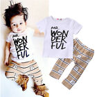 Newborn Toddler Baby Kids Boy Outfits T-shirt Tops+ Pants Clothes 2PC Set US