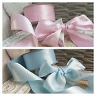 38mm Baby Pink or Baby Blue Satin Ribbon New Baby Shower Christening Nursery