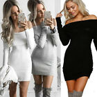 USA Women\'s Bandage Bodycon Long Sleeve Evening Party Cocktail Short Mini Dress