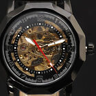 Fashion Skeleton Automatic Man Leather Auto Self-Wind Men Mechanical Watch 8280