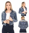 Womens Ladies Vintage Jacket Sequin Shoulders Denim Blue Jeans Outerwear Coat