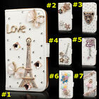 Magnetic Bling Crystal Design Rhinestone PU Leather Wallet Diamond Phone Case #D