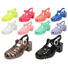 Ladies Spot On Medium Sqaure Heel Fashion Jelly Sandals