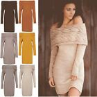 Womens Ladies Ruffle Frill Off Shoulder Long Sleeve Bardot Knitted Bodycon Dress