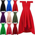 Womens Ladies Slash Neck Off Shoulder High Low Bralet Swing Skater Midi Dress