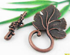 Free Ship 6Sets Copper Plated Large Leaf Toggle Clasps 37x22mm