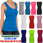 Womens Cami Plain Strap Ribbed Sleeveless Summer Vest Ladies Casual Top Blouse