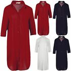 Womens Ladies Collared 3/4 Sleeve Front Pocket Oversized Baggy Midi Shirt Dress