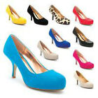 NEW LADIES WOMEN LOW MEDIUM HEEL PATENT  SUEDE PUMP COURT SHOE SIZE 3 -8