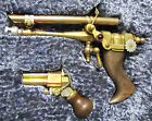 Artist Made Fantasy Steampunk Ray Gun Pistol Set In Blue Crushed Velvet Display.