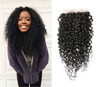 4''*4''100% BRAZILIAN BLEACHED KNOTS KINKY CURLY LACE CLOSURE FREE PART 8-20''