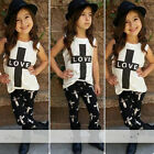 2Pcs Baby Girls Criss Cross T-shirt Tops +Pants Outfits Kids Summer Clothes Sets