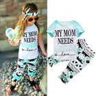 2pcs Kid Baby Girl Cotton Outfit Letter Print Shirt Top + Flare Pant Clothes Set