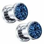 Blue Flame Steel Screw-On Picture Plugs 6G Pair - Choose Size