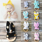 Kids Wooden Natural Baby Sensory Toy Infant Bunny Handmade Teether Teething Ring