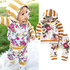 US Kids Baby Girls Clothes Hooded Sweatshirt Tops Floral Pants 2pcs Outfits Set