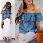 Womens Summer Vintage Off Shoulder Ladies Loose Tops Casual T Shirt Denim Blouse