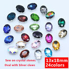 20p Rhinestone 13x18mm Sewing On Faceted Crystal glass Oval jewels costume Dress