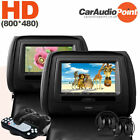 "7"" Car Dual Monitor Twin Leather Headrest DVD Player + IR Headset Toyota/Opel/VW"