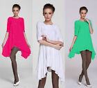 &8 Women's  Cotton Short Sleeve Asymmetric Casual  Loose Top T Shirt Mini Dress