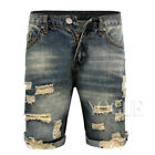 Mens Summer Casual Slim Distressed Ripped Frayed Shorts Denim Short Jeans Pants