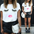 US Women Ladies Casual Summer Eyelash Cute Loose Short Sleeve Blouse T-Shirt
