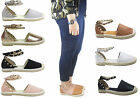 NEW LADIES WOMEN FLAT ESPADRILLE STUD SUMMER SANDAL SIZE  3- 8