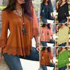 Women's Lady Casual Long Sleeve Lace Shirts Loose Blouses T Shirt Tops Plus Size