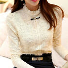 Lady Women Tops Fashion Long Sleeve Casual Blouse Loose Cotton Lace T-Shirts