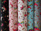 Unicorns and Rainbows / Fabric material 100% cotton pink, blue, grey,black,white