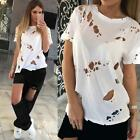 Women Girls Ripped Distressed Tees Hole T-shirts Short Sleeve Shirt Tops Fashion