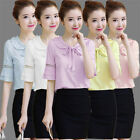 New Sweet Women Short Sleeve Shirts Doll Collar Chiffon Tops Casual Solid Blouse
