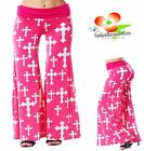 Sexy Pink Hippie Gothic Cross Fold Over Bell Wide Leg Tall Palazzo Pants S M L
