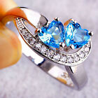CH Fashion Heart Blue White Gemstone Jewelry Women Silver Ring Size 6 7 8 9 10