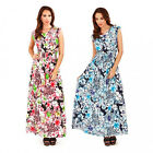 Pistachio Tropical Floral Print Pink Blue Cap Sleeve Maxi Dress UK 8-22