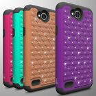 For LG X Power 2 / K10 Power / Fiesta Case Diamond Bling Hybrid Tough Cover