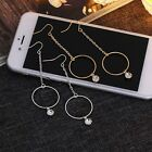 Chain Women Long Earrings Big Circle Crystal Gold/Silver Plated