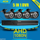 4CH 1080N CCTV 5 IN 1 TVI AHD DVR 1500TVL IR-Cut Home Security Camera System Kit