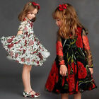 Flower Princess Girl Dress Rose Long Sleeve Dress Costume for Party Wedding
