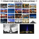 POSTERS CITY,CITYSCAPES AT NIGHT EIFFEL TOWER ENGLAND LAKE CHOOSE IMAGE and SIZE