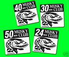"""MUSKY CLUB DECAL for Big fish Sticker DECALS Tackle Box, Car, Boat, 50-40-30-24"""""""